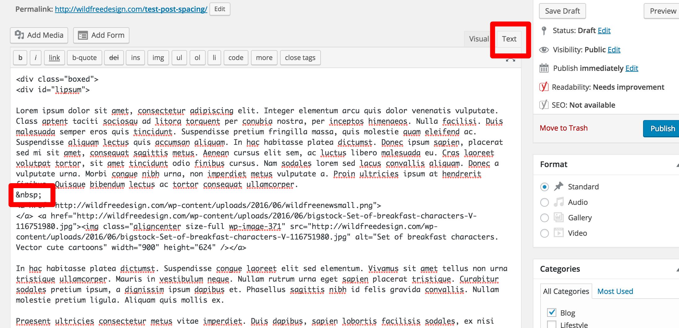 text editor wordpress spacing