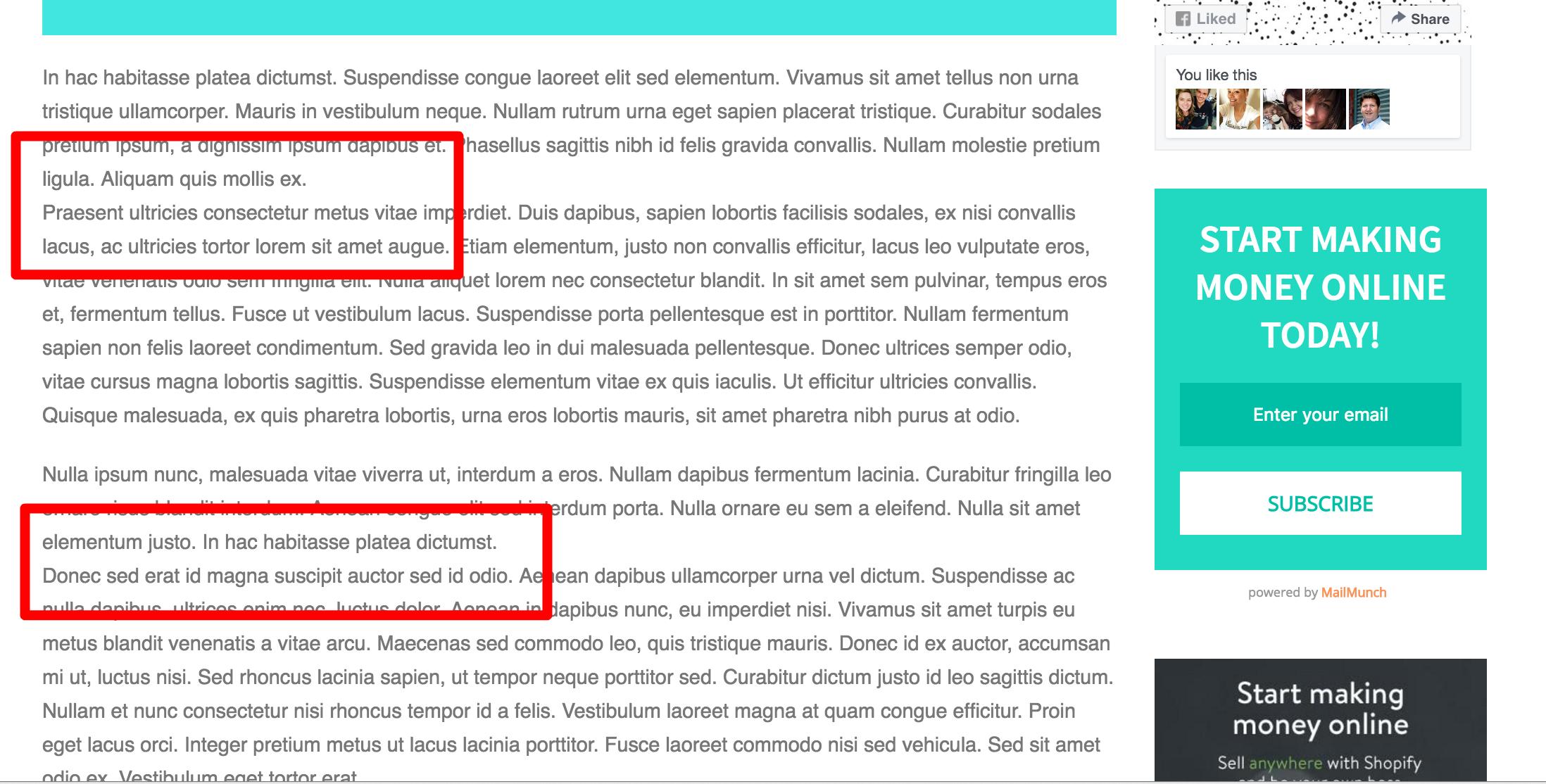 wordpress page formatting